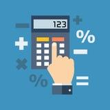 Berekening, wiskunde, accountantsconcept Vlak Ontwerp Stock Afbeelding