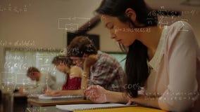 Berekeningen op een klaslokaalachtergrond stock illustratie