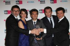 Berenice Bejo, Jean Dujardin, Michel Hazanavicius, Ludovic Bource, Thomas Langmann Royalty-vrije Stock Foto's