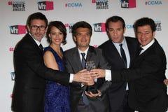Berenice Bejo,吉恩Dujardin, Michel Hazanavicius, Ludovic Bource,托马斯Langmann 免版税库存照片