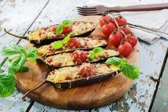 Berenjena cocida con la carne del queso Foto de archivo libre de regalías
