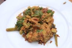 Berenjena del Cymbopogon y curry de la haba verde - vegetariano Foto de archivo