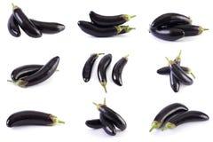 Berenjena en un fondo blanco Las berenjenas son frescas y deliciosas Verduras frescas en un fondo blanco foto de archivo