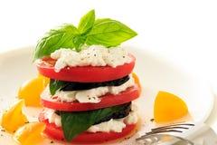 Berenjena, tomate, albahaca y requesón imagen de archivo