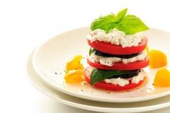 Berenjena, tomate, albahaca y requesón apilados en la placa blanca fotografía de archivo