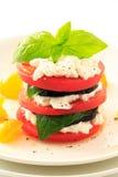 Berenjena, tomate, albahaca y requesón apilados en la placa blanca imagen de archivo