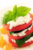 Berenjena, tomatol y requesón apilados Imagenes de archivo