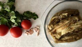 Berenjenas cocidas en un bol de vidrio, tomates frescos, un perejil del greem y un ajo fotos de archivo libres de regalías