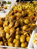 Berenjenas de Almagro eggplant in a stall of a market. Stock Photos