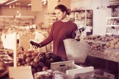 Berenjenas de compra de la muchacha de la calma en el mercado Fotos de archivo libres de regalías