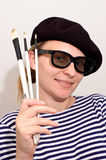 beret καλλιτεχνών βούρτσες Στοκ φωτογραφίες με δικαίωμα ελεύθερης χρήσης