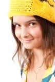 beret κορίτσι κίτρινο Στοκ Φωτογραφίες