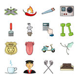 Beret, army, putter and other web icon in cartoon style. sports, medicine, entertainment icons in set collection. Beret, army, putter and other  icon in cartoon Royalty Free Stock Images