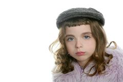 Beret hat girl winter fur coat portrait Royalty Free Stock Photography
