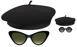 Beret sunglasses. Black berets with cat eye and round sunglasses Stock Image
