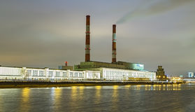 Berezhkovskaya Embankment and Power Plant in Moscow . royalty free stock photography