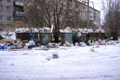 Berezniki, Russia, on 23 October 2017 : a lot of garbage on the street royalty free stock photography