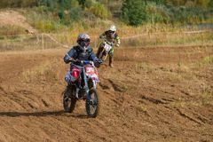Berezovskiy Nikita 34. SERPUKHOV, RUSSIA - OCTOBER 7, 2017: Berezovskiy Nikita 34,  Class Juniors absolute, in the 4 stage  MX series, the Red Wings Cup 2017 Stock Photography