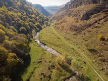 Berezovsky Gorge on the outskirts of the city of Kislovodsk, Russia. A bird`s eye view on a sunny autumn day.  royalty free stock photos