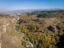 Berezovsky Gorge on the outskirts of the city of Kislovodsk, Russia. A bird`s eye view on a sunny autumn day.  royalty free stock photo