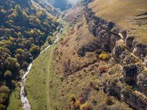Berezovsky Gorge on the outskirts of the city of Kislovodsk, Russia. A bird`s eye view on a sunny autumn day.  stock photo