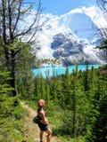 停止了敬佩湖和冰川的美好和难以置信的看法的一个年轻女性徒步旅行者沿一条供徒步旅行的小道 免版税库存图片