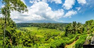 Berg Agung eingehüllt in Wolke Bali Indonesien lizenzfreie stockfotos