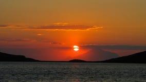 Berg Athos während des Sonnenuntergangs Stockfotos