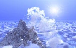 Berg auf Hintergrundwolke Lizenzfreie Stockfotografie