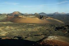 Berg av brand, Montanas del Fuego, Timanfaya.i Arkivfoto