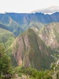 Berg av Machu Picchu som beskådas från det Wayna Picchu berget Arkivbilder