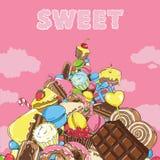 Berg av sötsaker i himlen Royaltyfri Foto