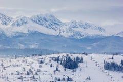 Berg bakom skidar semesterorten Arkivbilder