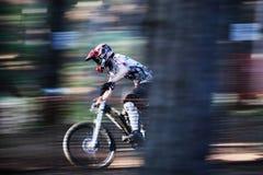 Berg Biking bij Snelheid Stock Afbeelding