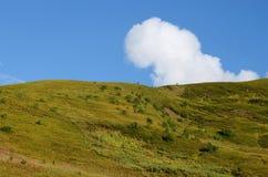 Berg, blauwe hemel en witte wolk, Svanetia, de bergen van de Kaukasus stock foto's