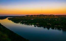 Berg Bonnell West-Austin Sunrise Belt von Venus lizenzfreie stockfotografie