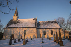 Berg Church in winter garb and sunset Stock Image