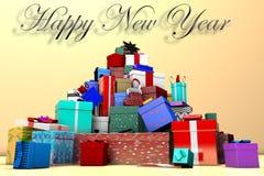 berg 3D av nytt års gåvor och det lyckliga nya året för inskrift stock illustrationer