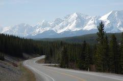 Berg, Datenbahn und Wälder Lizenzfreie Stockfotos