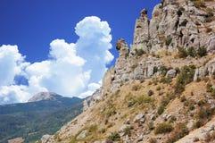 Berg Demerdzhi, på kusten av Blacket Sea, Krim Royaltyfria Foton