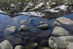 Berg, der im Teich sich reflektiert lizenzfreie stockfotografie