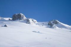 Berg die in sneeuw wordt behandeld Stock Afbeeldingen