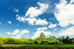 Berg en bewolkte blauwe hemel Stock Foto