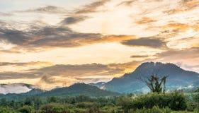 Berg en blauwe hemel met zonsondergang stock foto's