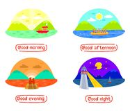 Berg en Overzees landschap in verschillende tijden van dag, Goedemorgen, goede middag, Goede avond, Goede nacht, dag en nacht, Ti royalty-vrije illustratie