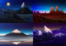 Berg everest, matterhorn, Fuji med turisten, monumentdal, nattpanoramautsikt, maxima, landskap tidigt in vektor illustrationer