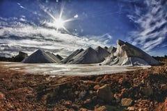 berg för antilles bonaire salt karibiska holländska extraktionö Arkivbilder