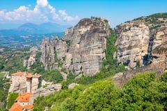 berg för greece meteorakloster Platta till av Thessaly, Grekland Arkivfoto