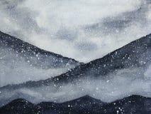 Berg för konst för vattenfärgmålning täckte asiatiska snönedgången med dimma i vintersäsong royaltyfri illustrationer
