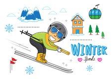 Berg för man för vintersnösport Royaltyfri Illustrationer